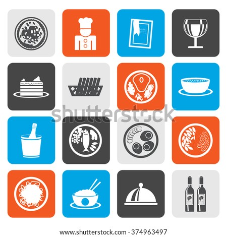 Flat Restaurant, food and drink icons - vector icon set - stock vector