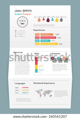 Flat Resume on Brochure with Infographics and Timeline. Vector Illustration - stock vector