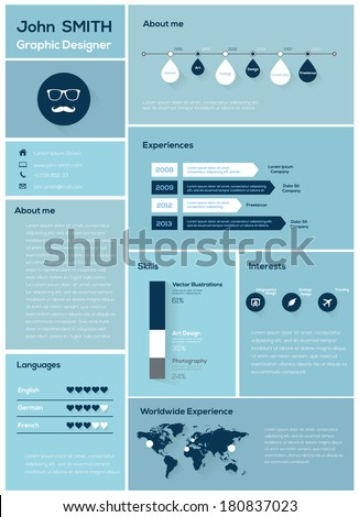 Flat Resume with Infographics and Timeline. Vector Illustration  - stock vector