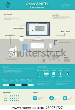 Flat Resume with Infographics. Vector Illustration - stock vector