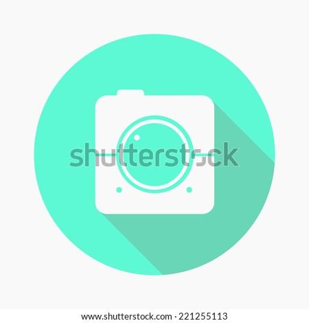 flat retro hipster photo video camera icon film square  background - stock vector