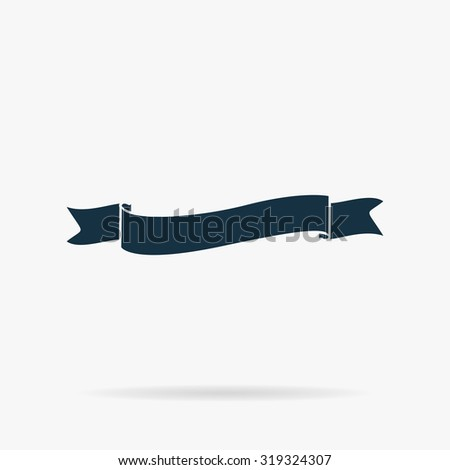 Flat ribbon icon. Flat vector web icon or sign on grey background with shadow. Collection modern trend concept design style illustration symbol - stock vector