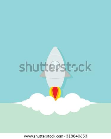 Flat rocket startup  - stock vector