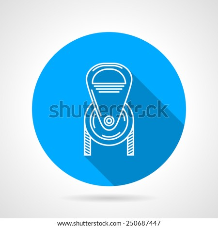 Flat round blue vector icon with white contour climbing or construction pulley on gray background. Long shadow design - stock vector