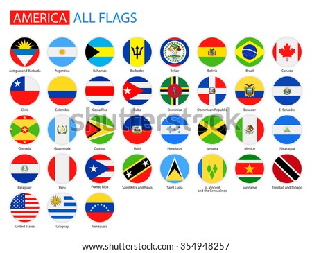 Flat Round Flags of America - Full Vector Collection Vector Set of American Flag Icons: North America, Central America, South America  - stock vector