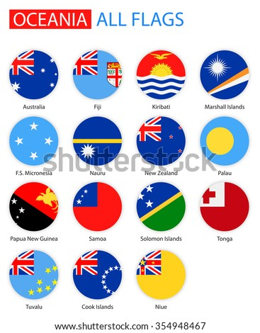 Flat Round Flags Of Oceania - Full Vector Collection Vector Set of Oceanian Flag Icons: Australia and Oceania  - stock vector