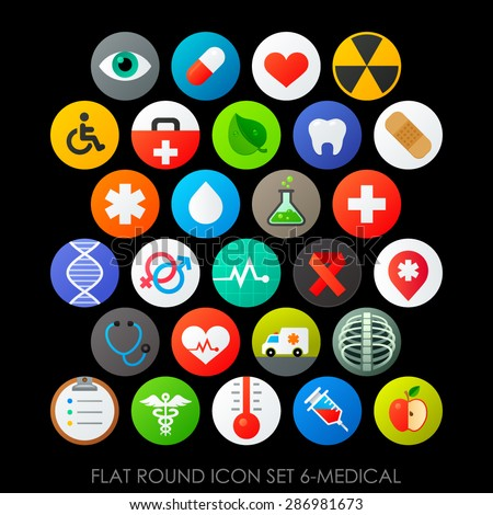 Flat round icon set 6-medical - stock vector