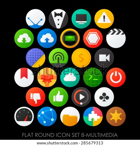 Flat round icon set 8-multimedia - stock vector