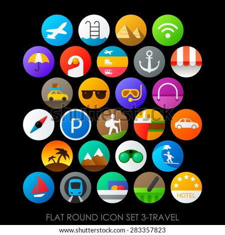 Flat round icon set 3-travel - stock vector