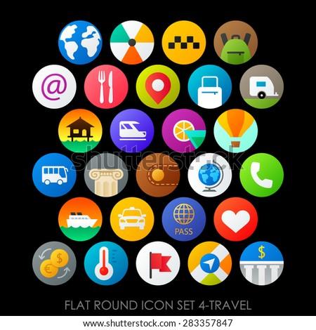 Flat round icon set 4-travel - stock vector
