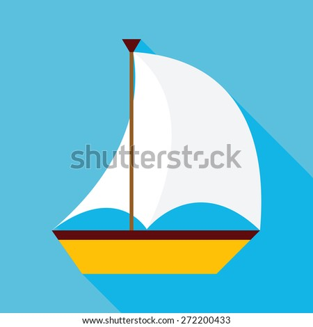 Flat Sailing Ship with Long Shadow. Vector Illustration Flat Stylized - stock vector