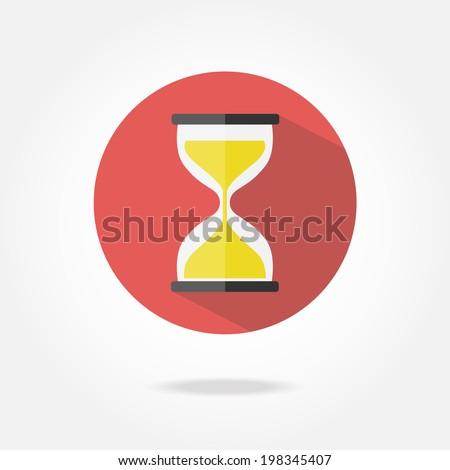 Flat sand clock icon. - stock vector