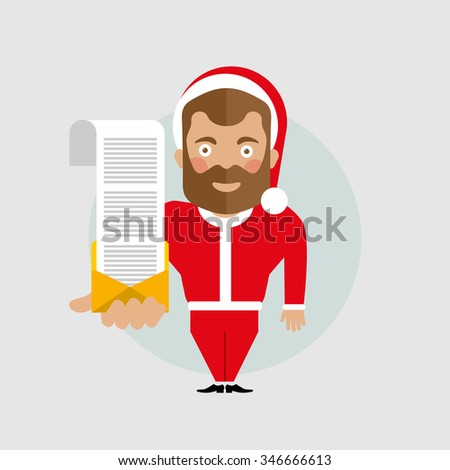 Flat santa claus character hold mail email with long big wish-list - stock vector
