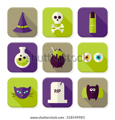 Flat Scary Halloween Witch Squared App Icons Set. Autumn Halloween Holiday Colorful Objects. Bundle of Tricks and Treats Items. Icons for Website and Mobile Application - stock vector