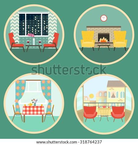 flat scenes of romantic dating in the interior. vector illustration - stock vector