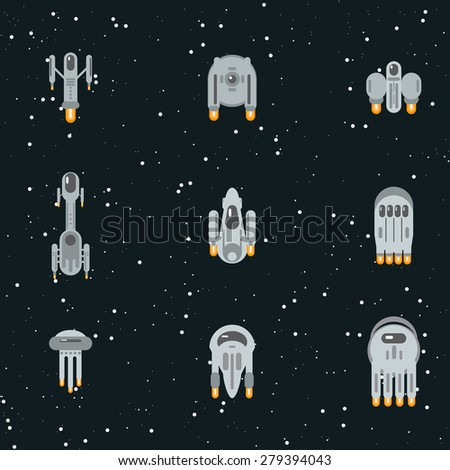 Flat sci-fi futuristic alien spaceships, flying through cosmos with warp engines. - stock vector