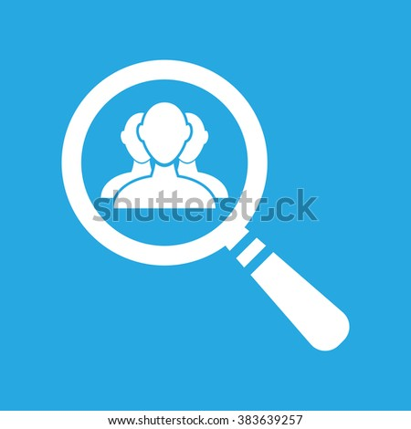 flat search icon with user group people on a blue background - stock vector