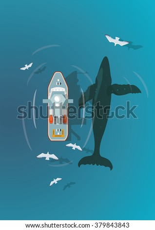 flat seascape with boat and whale top view - stock vector