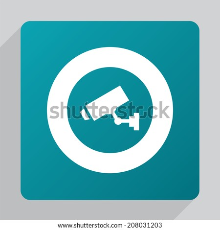 flat security camera icon, white on green background  - stock vector