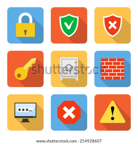 Flat security icons with long shadows. Vector illustration - stock vector