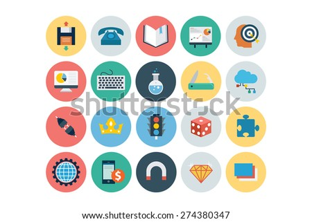 Flat Seo and Marketing Icons - Vol 6 - stock vector