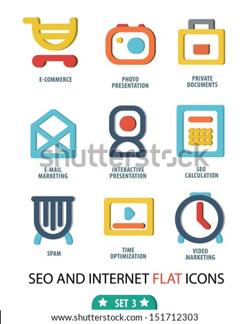 Flat set 3 Icons for Web and Mobile Applications - stock vector