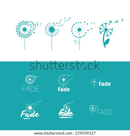 Flat set of fly dandelion symbols  - stock vector