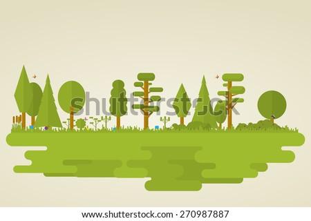 Flat set of forest vegetation. Trees, grass, bushes, butterflies. - stock vector