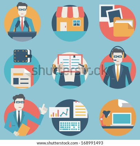 Flat set of modern vector icons and symbols on business management or analytics and e-commerce theme - part 3 - vector icons - stock vector