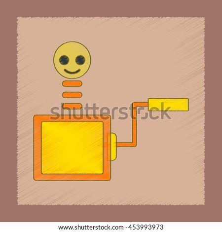 flat shading style icon Kids box - stock vector