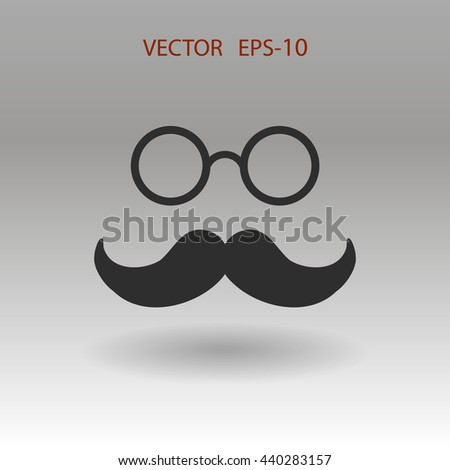 Flat shadow Hipster retro style mustache and eyeglasses icon - stock vector