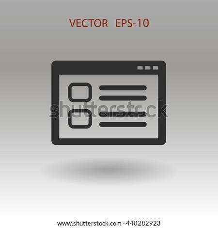 Flat shadow Web window icon, vector illustration - stock vector
