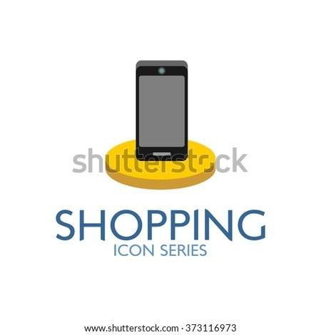 Flat Shopping Icon. Vector Illustration. cellular phone icon - stock vector