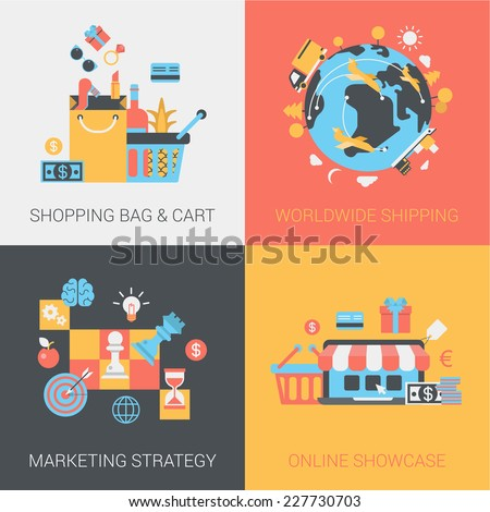 Flat shopping, shipping, marketing strategy and online store concept. Cart and bag, worldwide delivery, shop. Vector icon banners template set. Web illustration. Website infographic elements - stock vector