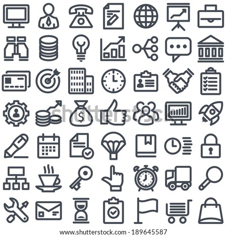Flat simple icons. Business theme. - stock vector