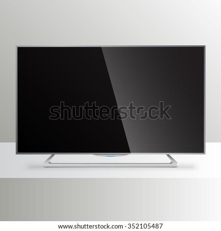 Flat Smart TV Mockup - stock vector