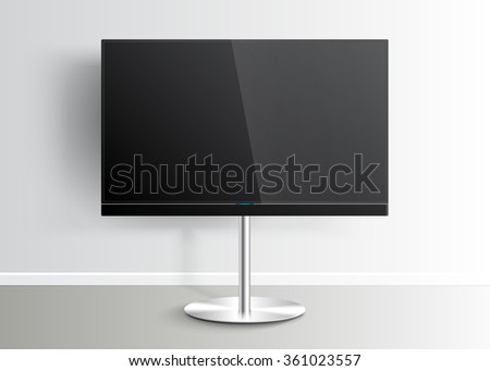 Flat Smart TV Mockup with blank screen on the Floor Stand, sound bar, flat screen lcd, realistic, vector - stock vector