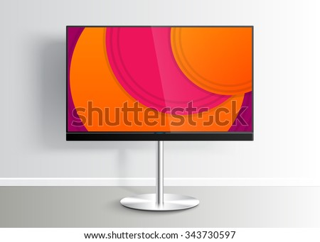 Flat Smart TV with colorful picture on screen on the Floor Stand, room, flat screen lcd, realistic, vector Mockup - stock vector