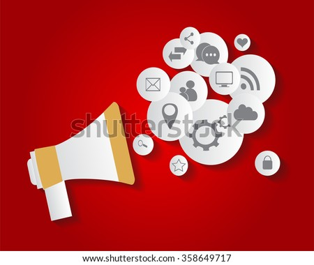 Flat social media icons in balloon with speaker vector eps 10 red - stock vector