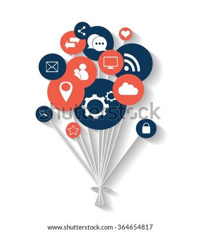Flat social media icons in balloons vector eps 10 blue and red - stock vector