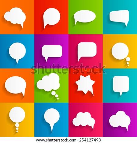 Flat Speech Bubbles with Long Shadows  Vector Illustration EPS10 - stock vector