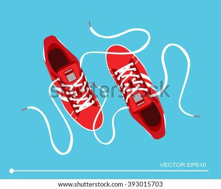 Flat sport sneakers background concept. Vector illustration design - stock vector
