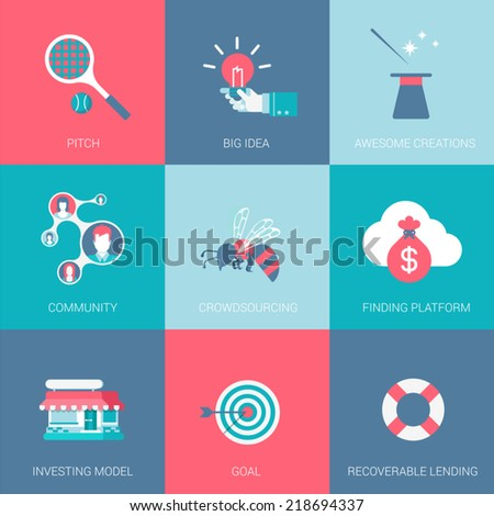 Flat start up business design icons set pitch big idea community funding platform investing model goal recoverable lending modern web click infographics style vector illustration concept collection. - stock vector