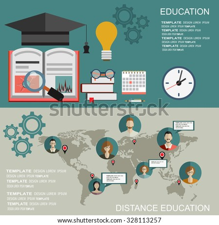 Flat study backgrounds set. Education and online courses, web tutorials, e-learning. Study and creative process. - stock vector