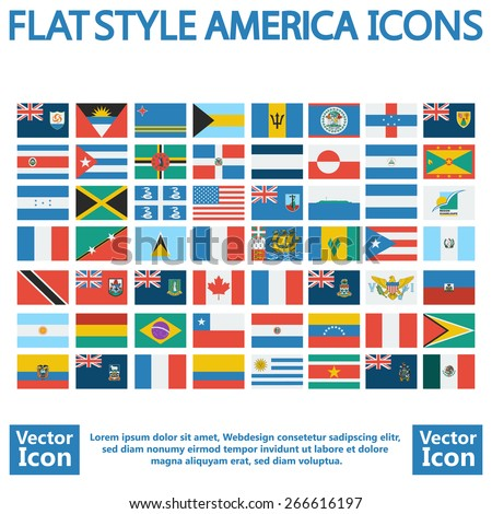Flat style America flags set - stock vector