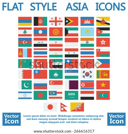 Flat style Asia flags set - stock vector