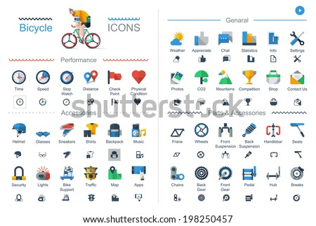 flat style bicycle icons set. - stock vector
