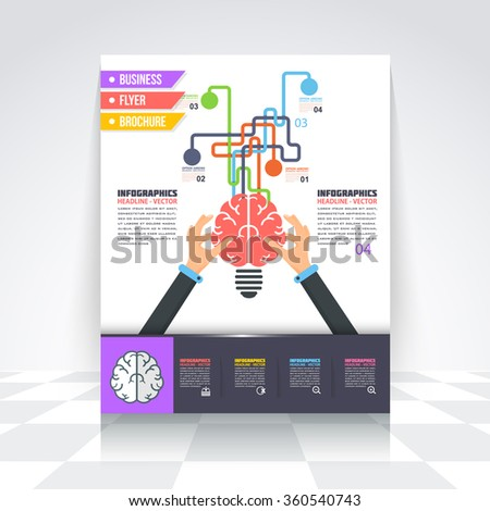 Flat Style Brain and Creative Think Business Infographics Template, Flyer, Numbered Banner, Icon Elements, Corporate Brochure Design - stock vector