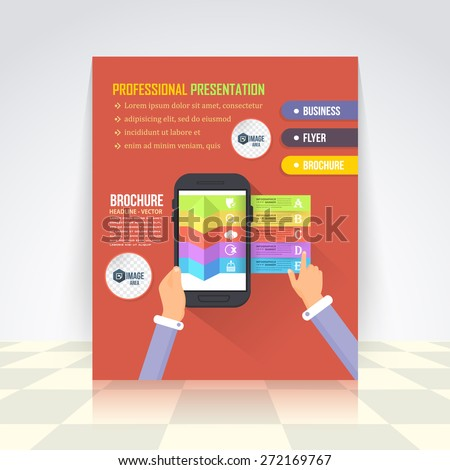 Flat Style Business Infographics Template, Vector Design Flyer, Numbered Banner, Icon Elements, Corporate Brochure - stock vector