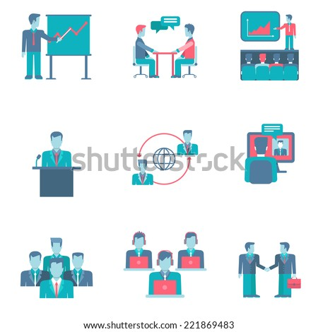 Flat style business people figures infographics user interface icons set presentation report speech chat negotiations video conference call team partnership isolated vector illustration collection - stock vector